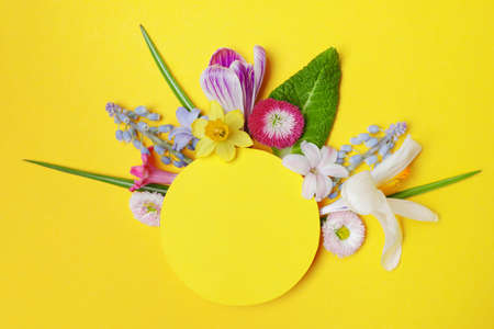 Flat lay composition with spring hyacinth flowers and blank card on color background, space for text