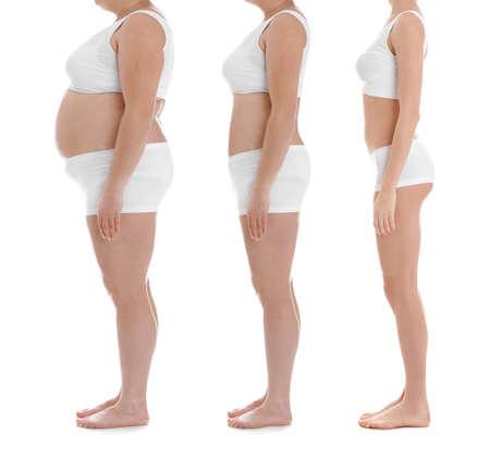Übergewichtige Frau vor und nach Gewichtsverlust auf weißem Hintergrund, Nahaufnahme