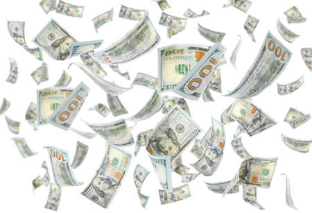 Many flying American banknotes on white background