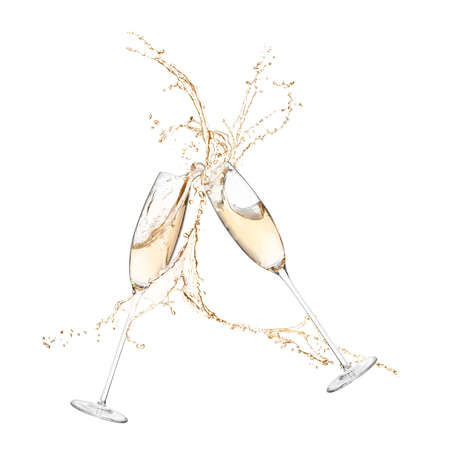 Glasses of champagne clinking together and splashing on white background