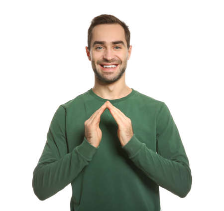 Man showing HOUSE gesture in sign language on white background