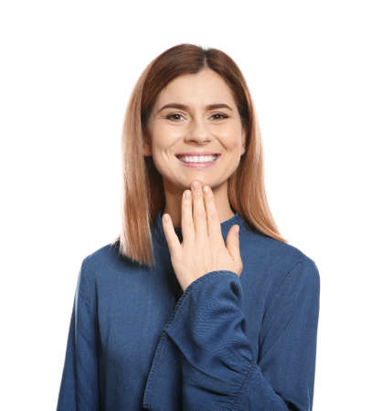 Woman showing THANK YOU gesture in sign language on white background