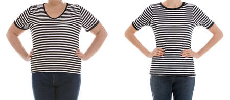 Overweight woman before and after weight loss on white background, closeup