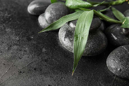 Zen stones and bamboo leaves on black background, closeup. Space for text 스톡 콘텐츠
