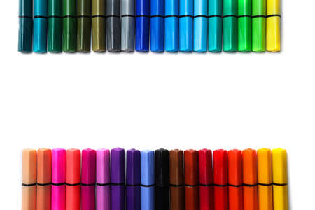 Many colorful markers on white background, top view with space for text. Rainbow palette 写真素材