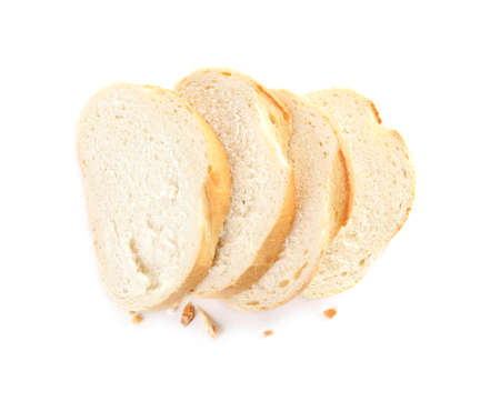 Fresh wheat bread on white background, top view