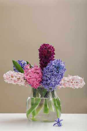 Beautiful hyacinths in glass vase on table against color background, space for text. Spring flowers