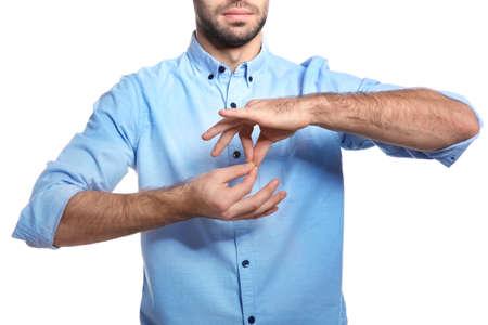 Man showing word INTERPRETER in sign language on white background, closeup