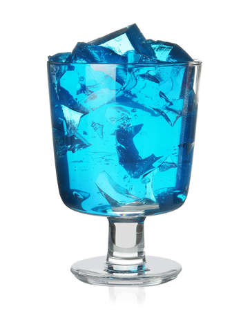 Dessert bowl with blue jelly on white background Banco de Imagens - 120144025