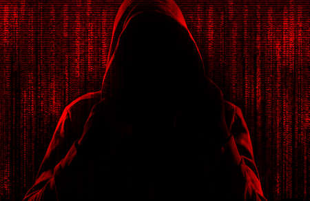 Dark silhouette of cyber criminal against background with digital symbols