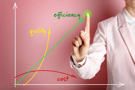 Businesswoman pointing at efficiency graph on virtual screen against color background, closeup