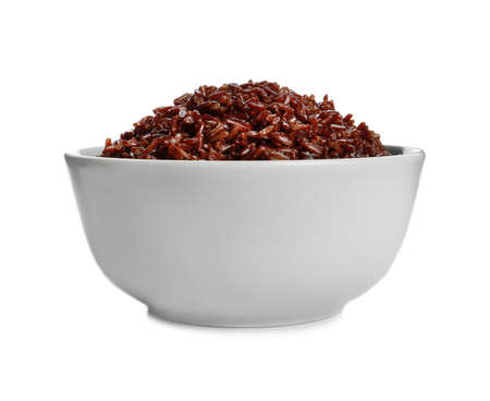 Bowl of cooked brown rice isolated on white