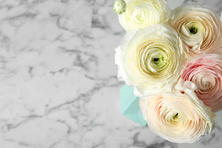 Beautiful ranunculus flowers in vase on marble table. Space for text