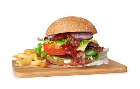 Wooden board with beef burger and french fries isolated on white