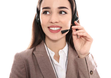 Portrait of technical support operator with headset on white background Stock fotó