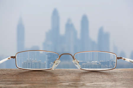 Clear beautiful view through glasses. Ophthalmologist prescription Reklamní fotografie