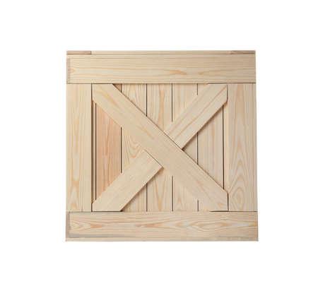 Nieuwe houten kist geïsoleerd op wit. Bezorgservice