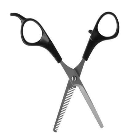 Nuevas tijeras de adelgazamiento sobre fondo blanco. Herramienta de peluquería profesional