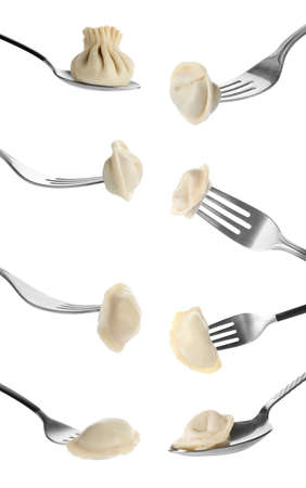 Set of forks and spoon with dumplings on white background Stock Photo