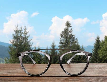 Clear beautiful view through glasses. Ophthalmologist prescription Reklamní fotografie