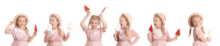 Collage of cute little girl with cotton candy and lollypops on white background