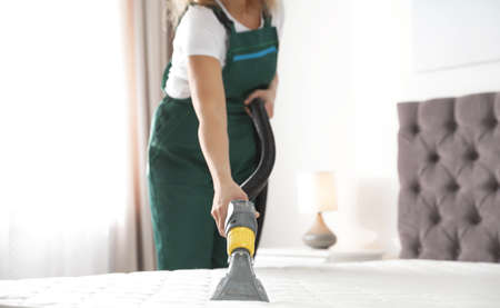 Janitor cleaning mattress with professional equipment in bedroom, closeup