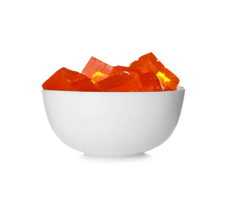 Bowl with tasty jelly cubes isolated on white Stockfoto