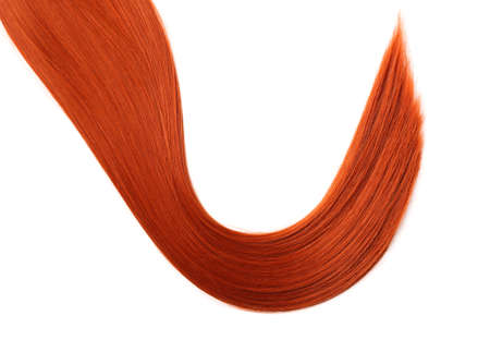 Beautiful red hair on white background, top view. Hairdresser service