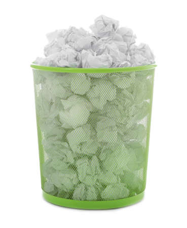Trash bin with crumpled paper on white background. Lack of ideas