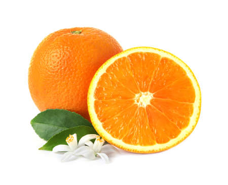 Ripe oranges, leaves and flowers on white background. Citrus fruit