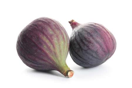 Whole ripe purple figs on white background Zdjęcie Seryjne