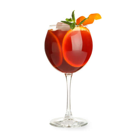 Glass of Aperol Spritz cocktail on white background. Traditional alcoholic drink 写真素材