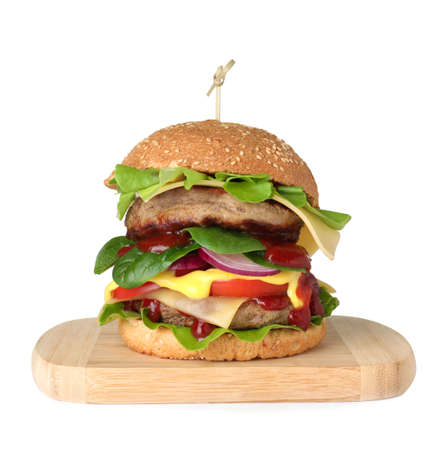 Wooden serving board with fresh burger isolated on white