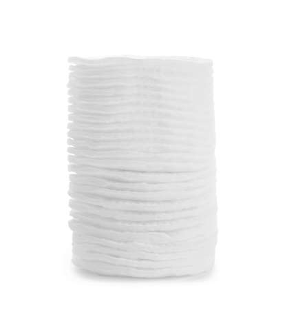Stack of cotton pads isolated on white