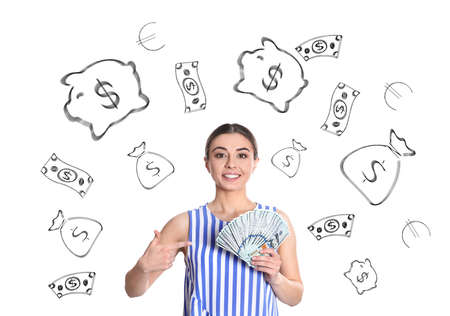 Young woman holding American dollars against white background with drawn money