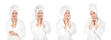 Set of beautiful young woman in bathrobe with towel on white background