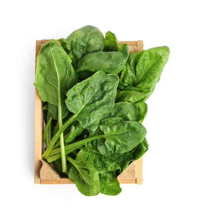 Crate with fresh spinach leaves isolated on white, top view