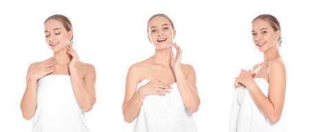 Set of beautiful young woman with towel on white background