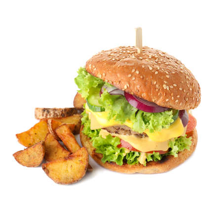 Fresh burger with fried potatoes on white background