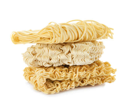 Different quick cooking noodles isolated on white