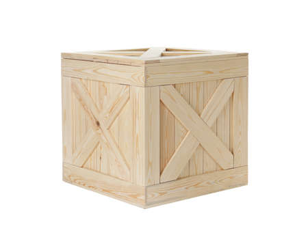Closed new wooden crate isolated on white