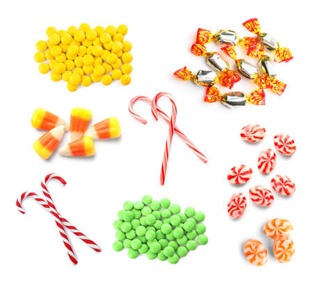 Set of different tasty candies on white background Stock Photo