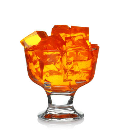 Dessert bowl with tasty jelly cubes isolated on white