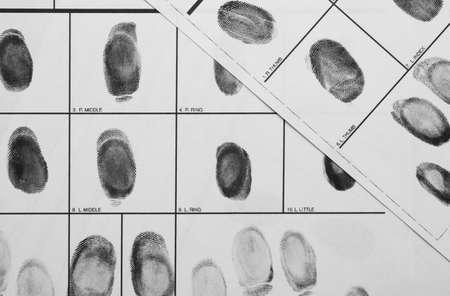 Fingerprint record sheets, top view. Criminal investigation