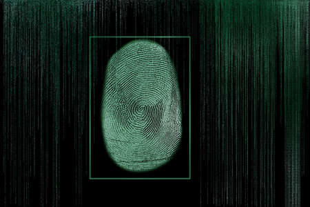Modern virtual screen with fingerprint. Person identification