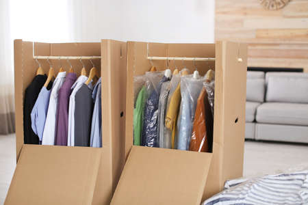 Cardboard wardrobe boxes with clothes on hangers in living room