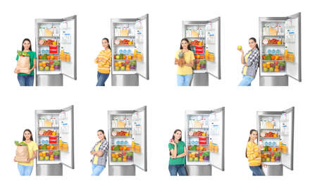 Set of woman near modern refrigerators on white background