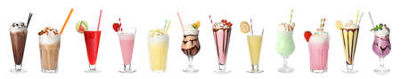Set of different delicious cocktails on white background Imagens