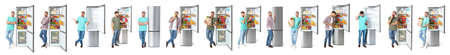 Set of man near modern refrigerators on white background