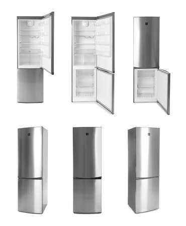 Set of modern refrigerators on white background